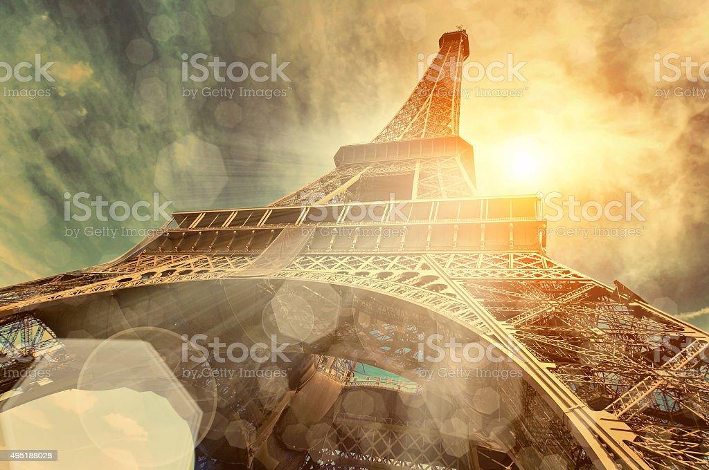 The Eiffel tower, landmarks in the world under sun light stock photo