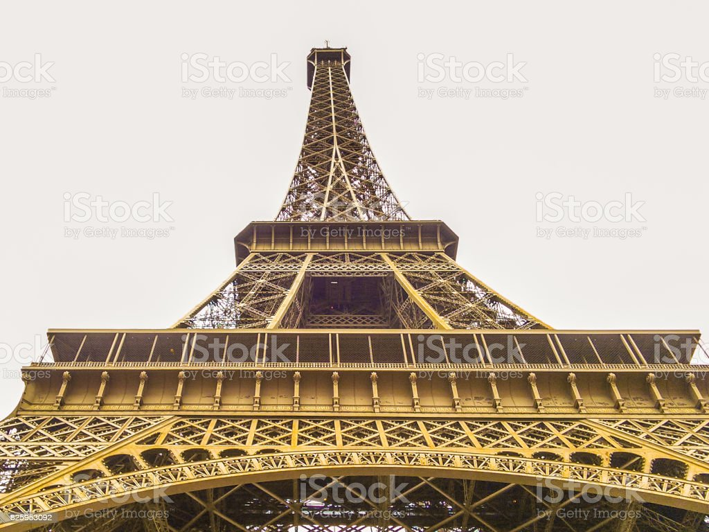 The Eiffel Tower (wrought iron lattice tower) on the Champ de Mars in Paris, France. stock photo