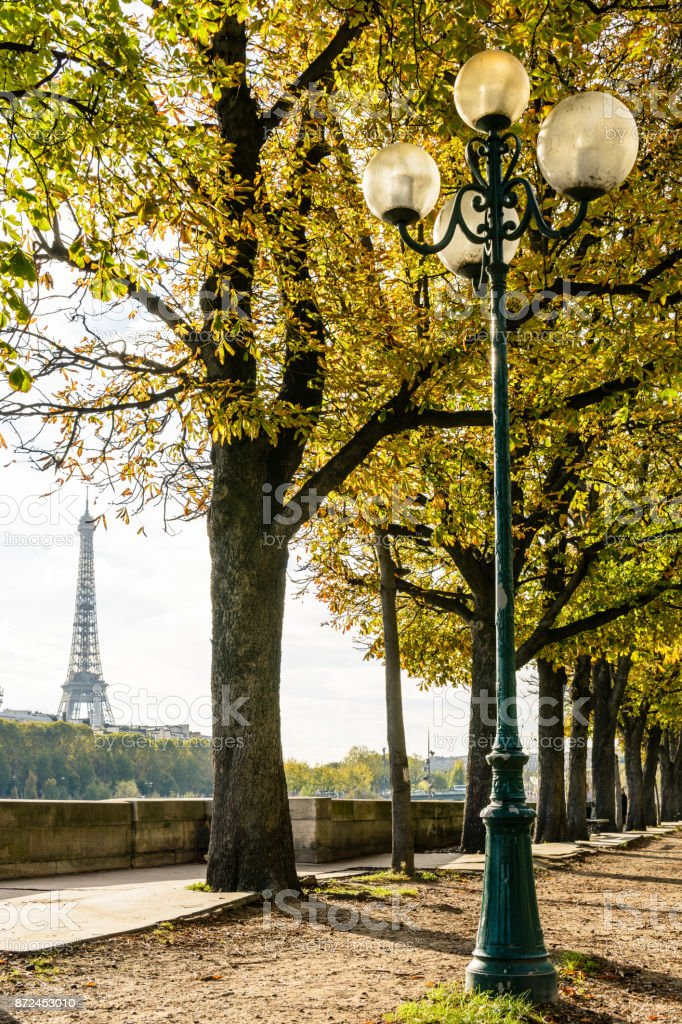 The Eiffel Tower seen between the chestnut trees planted alongside the banks of the river Seine with an old style street light in the foreground stock photo