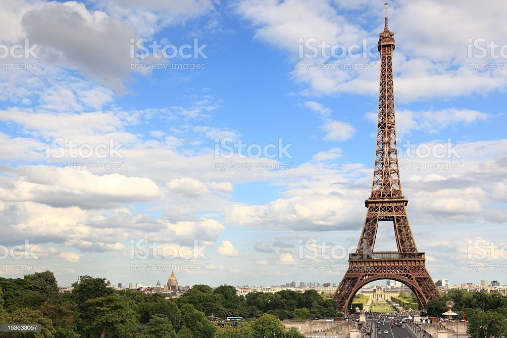 The Eiffel Tower standing tall in Paris royalty-free stock photo