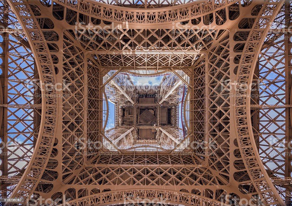 The Eiffel Tower, view from below, Paris France stock photo