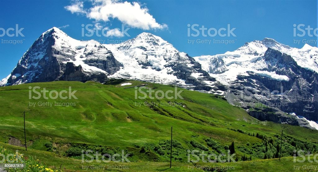 The Eiger, Monch and Jungfrau - the Majestic Trinity of the Bernese Alps, Switzerland stock photo