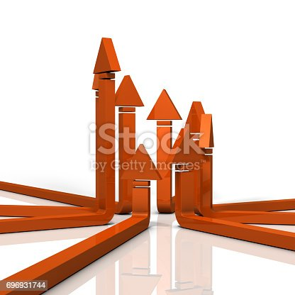 istock The eight arrows that gather and rise represent sublimation. 696931744