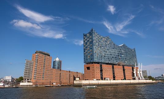 The Elbphilharmonie, concert hall in the port of Hamburg on Elbe river. Hamburg, Germany