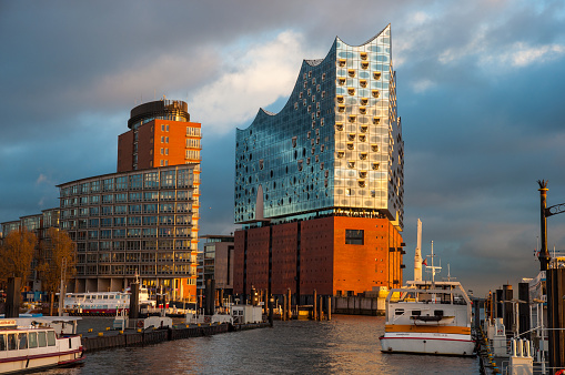 The Elbphilharmonie on the banks of Elbe river