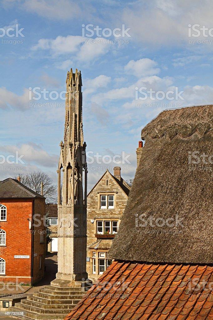 The Eleanor cross in Geddington. stock photo