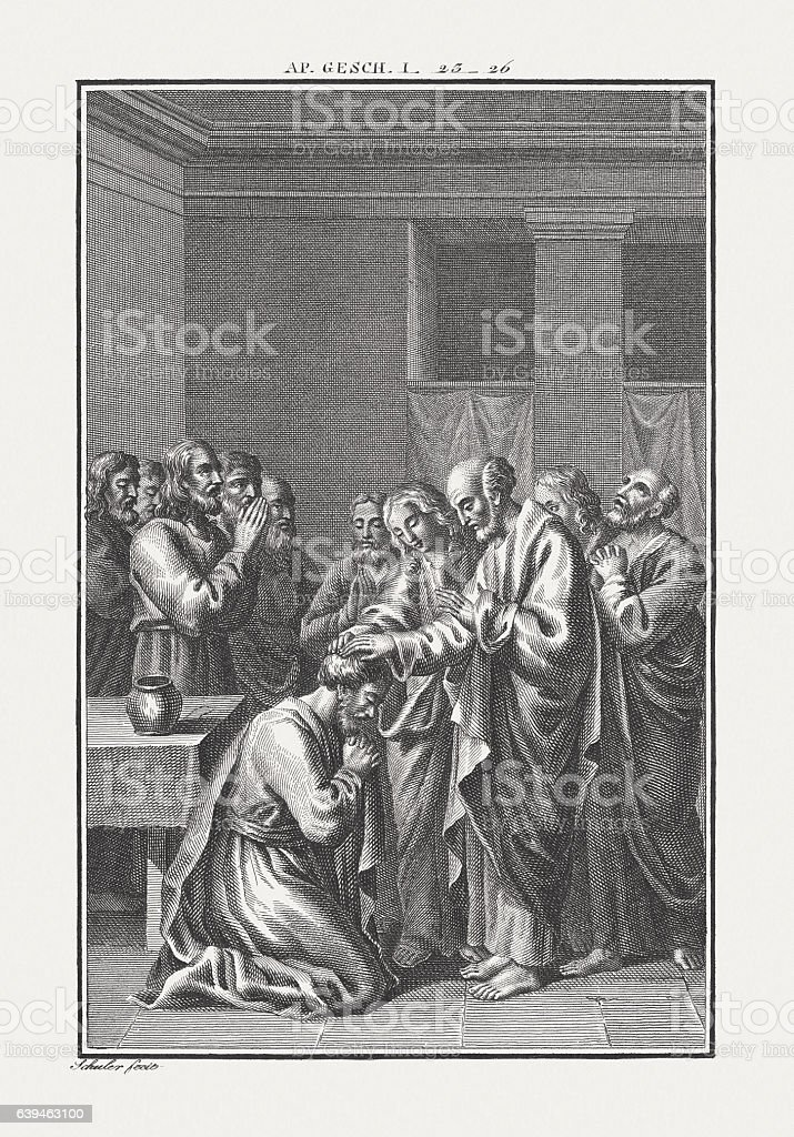 The Election of Matthias (Acts 1), copper engraving, published c.1850 stock photo