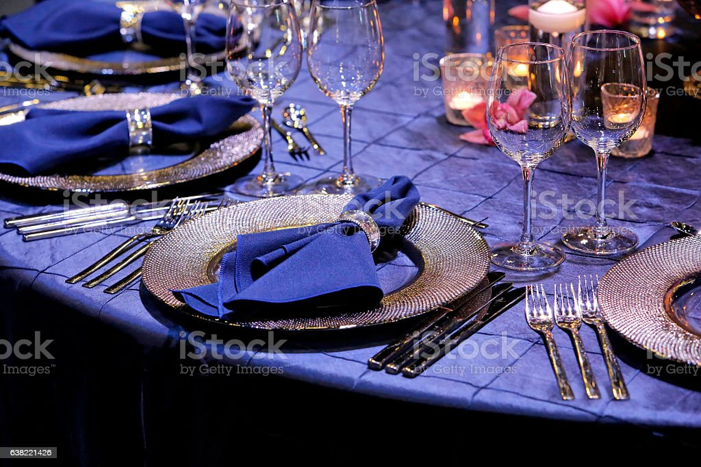 The elegant dinner table decoration stock photo