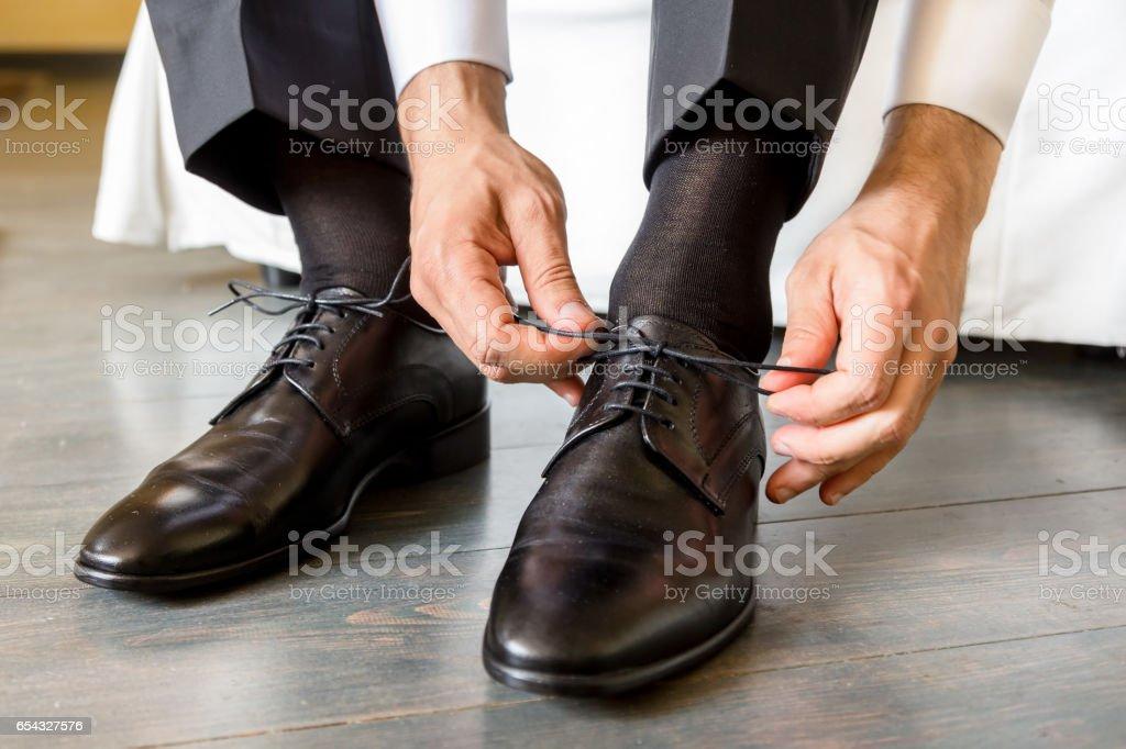 44d44b4c8f Los zapatos de cordones de hombre elegante foto de stock libre de derechos