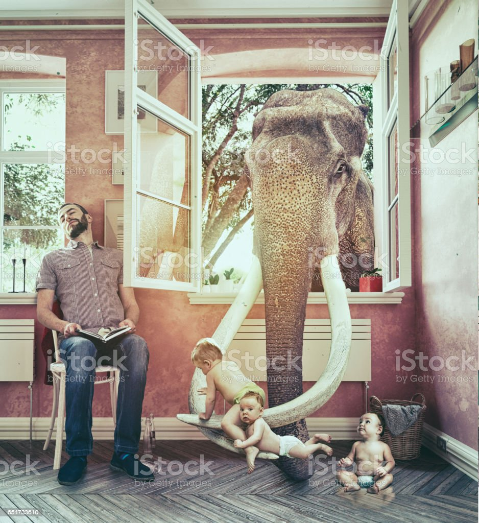 The elephant and the boy escapes stock photo