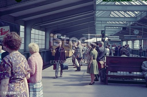 Kreuzberg, Berlin (West), Germany, 1962. The elevated railway station