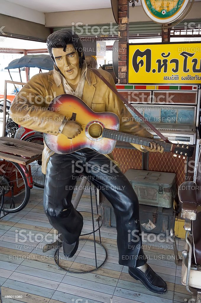 The Elvis Presley Model At Thung Bua Chom Floating Market Stock