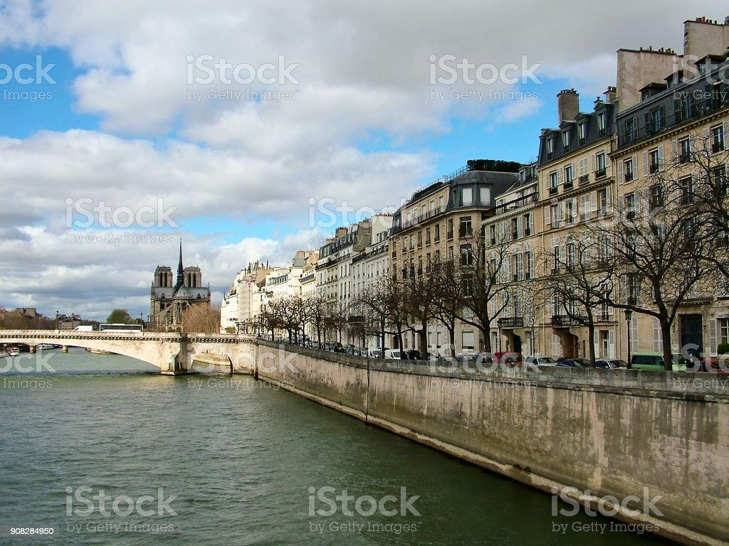 The embankment de Bethune  in Paris stock photo
