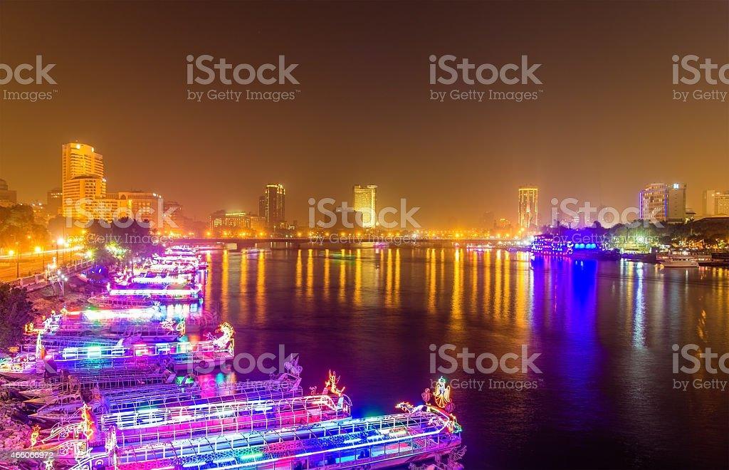 The embankment of Cairo at night stock photo