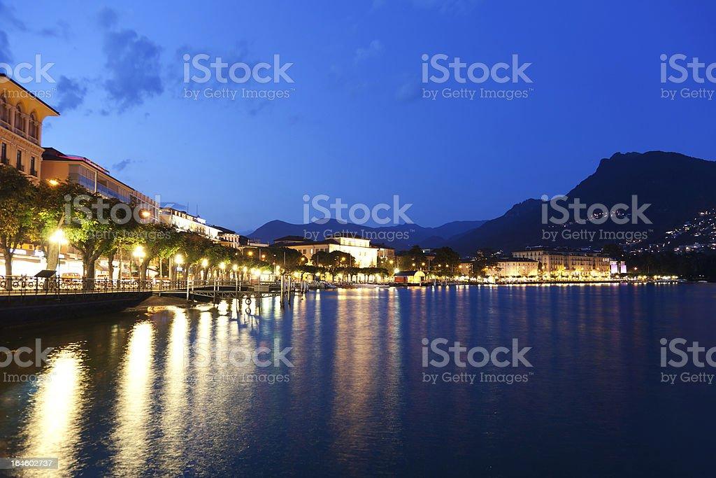 The embankment of Lugano, Switzerland, Canton Ticino. royalty-free stock photo
