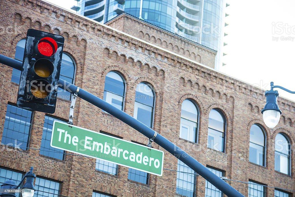 The Embarcadero road sign in San Francisco. royalty-free stock photo