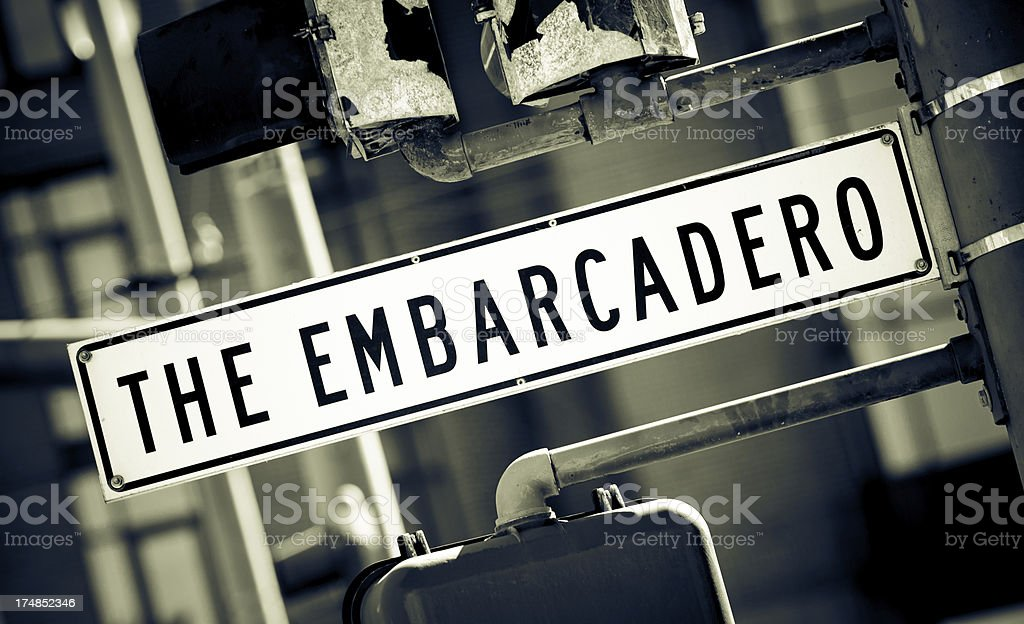 The Embarcadero street sign in San Francisco, CA royalty-free stock photo