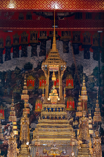 The Emerald Buddha in the temple of Wat Phra Kaeo at the Grand Palace in Bangkok, Thailand