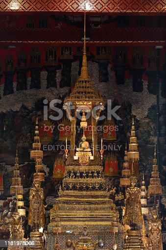 BANGKOK THAILAND - Oct 10, 2019 : The Emerald Buddha in the temple of Wat Phra Kaeo at the Grand Palace in Bangkok, Thailand.