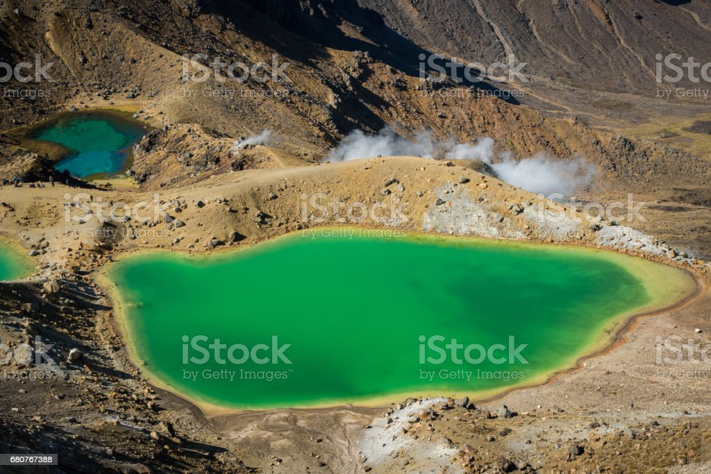 The Emerald lake of Tongariro national park of New Zealand. stock photo