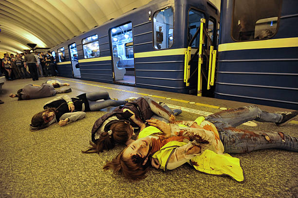 the Emergencies Ministry exercises  Saint-Petersburg, Russia - August 12, 2016: Integrated special tactical exercises in the aftermath of the subway. The extras playing the wounded during a terrorist attack. civil servant stock pictures, royalty-free photos & images