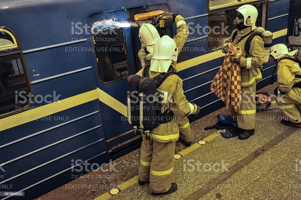 the Emergencies Ministry exercises stock photo
