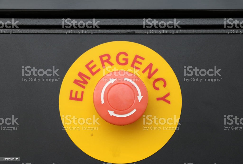 The emergency button of Gas dispenser in the gas station. stock photo