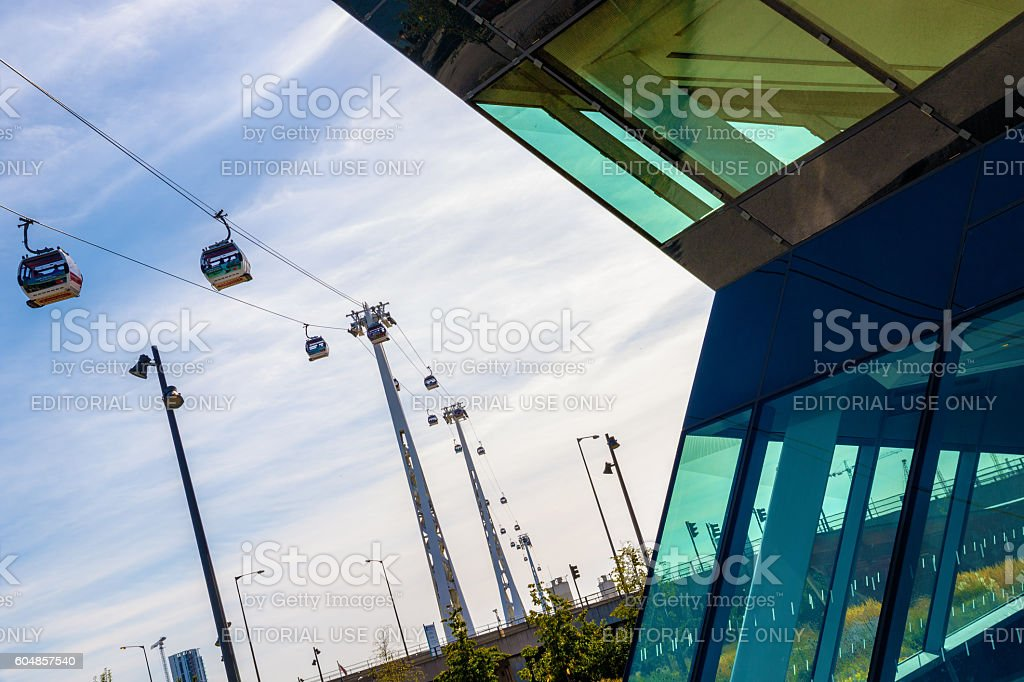 The Emirates Air Line or Thames Cable Car stock photo