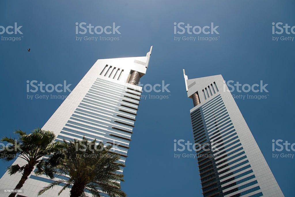 The emirates towers, Dubai stock photo