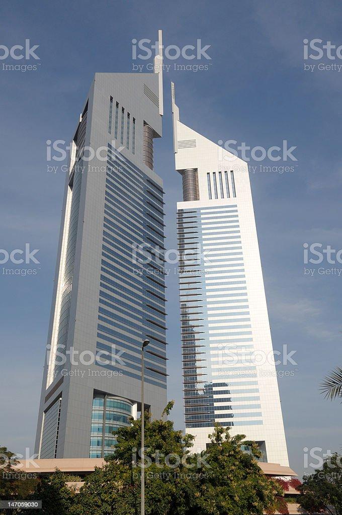 The Emirates Towers in Dubai stock photo