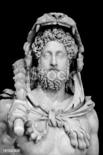 Italy, Rome: Hercules is the Roman name for the mythical Greek demigod Heracles, son of Jupiter, the Roman Zeus, and the mortal Alcmena. Here in, emperor Commodo in Hercules's dress. Unknown artist II c. A.C.