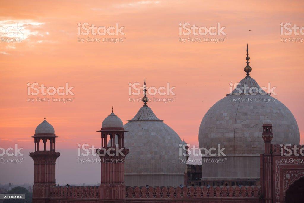 The Emperors Mosque - Badshahi Masjid at sunset royalty-free stock photo