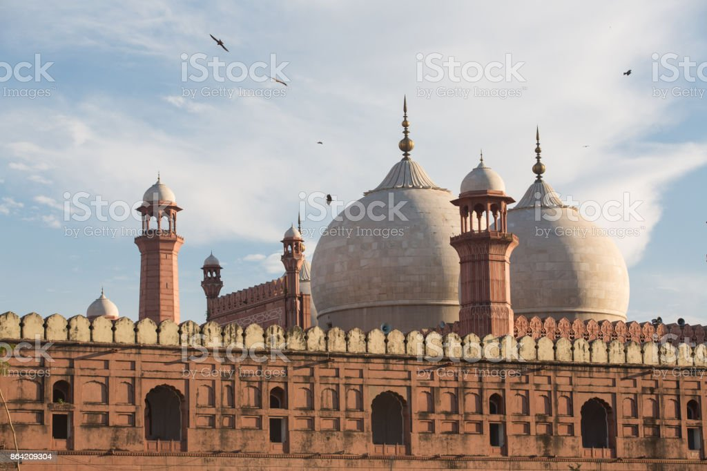 The Emperor's Mosque - Badshahi Masjid in Lahore, Pakistan Dome with Minarets Exterior royalty-free stock photo