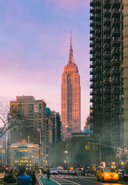 The Empire State Building and Madison Square Park at Twilight. stock photo