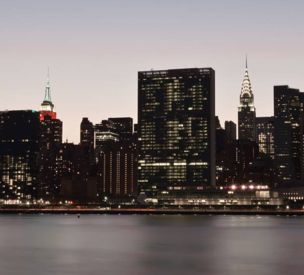 The Empire State Building and the Chrysler Building from Gantry State Park Plaza in Long Island City, Queens stock photo