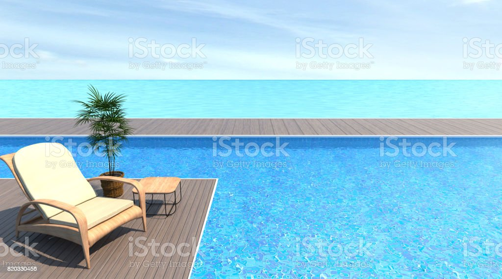 The empty exterior with Wood sofa swimming pool and sea 3d rendering Vacation time stock photo