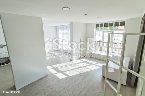 The empty white room with two windows