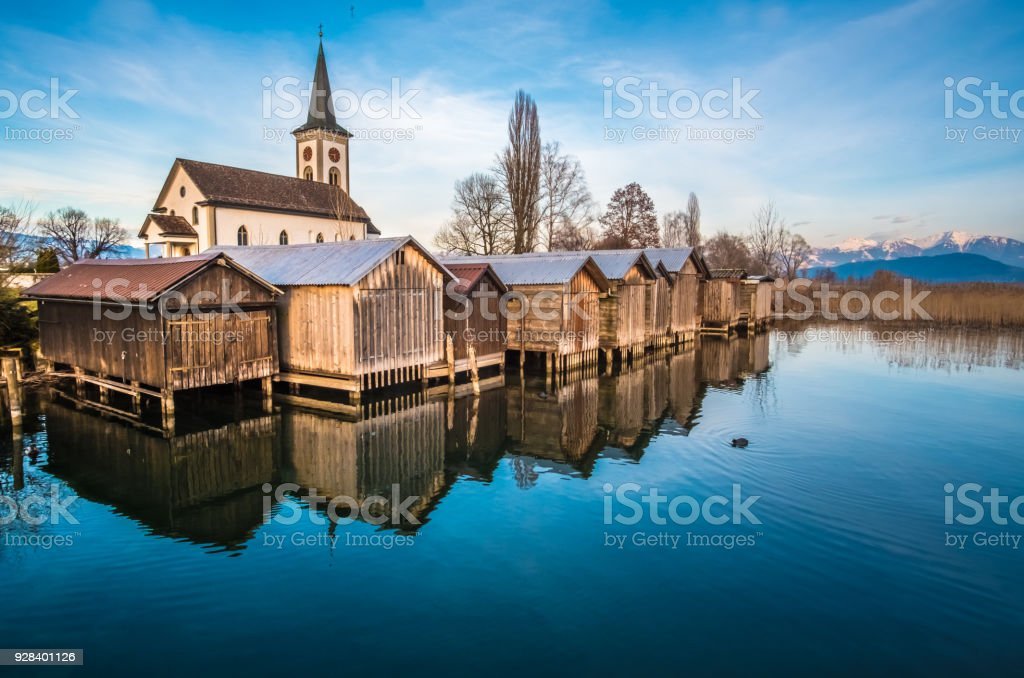 The enchanting ancient village of Busskirch on the shores of the Zurich Lake, Rapperswil-Jona, Sankt Gallen, Switzerland stock photo