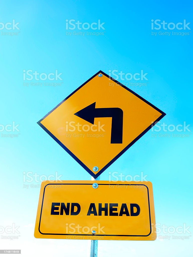 The end; caution road sign royalty-free stock photo
