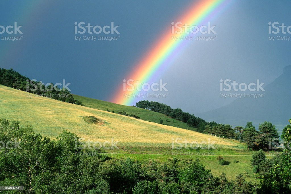 The end of a rainbow with a field in the foreground