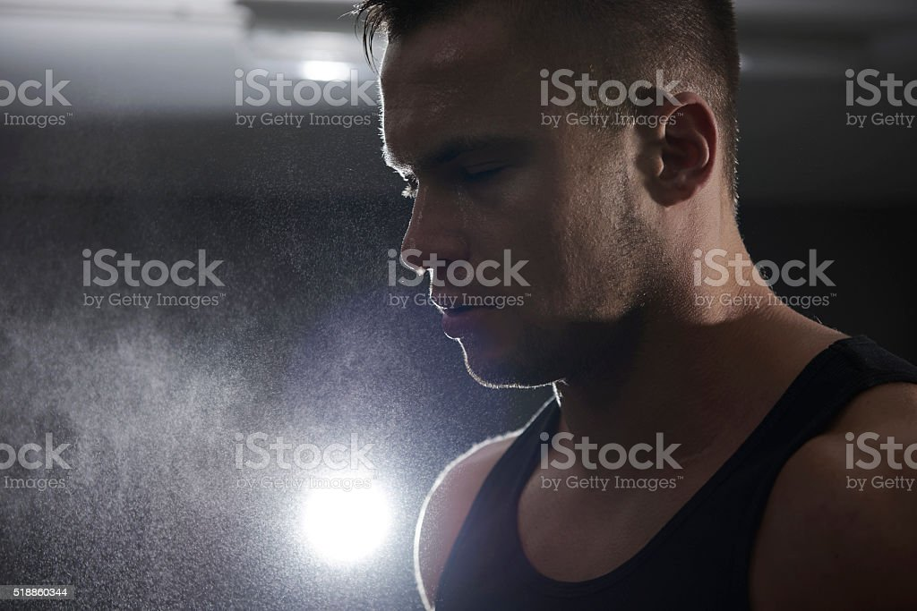 The end of exhausting workout stock photo