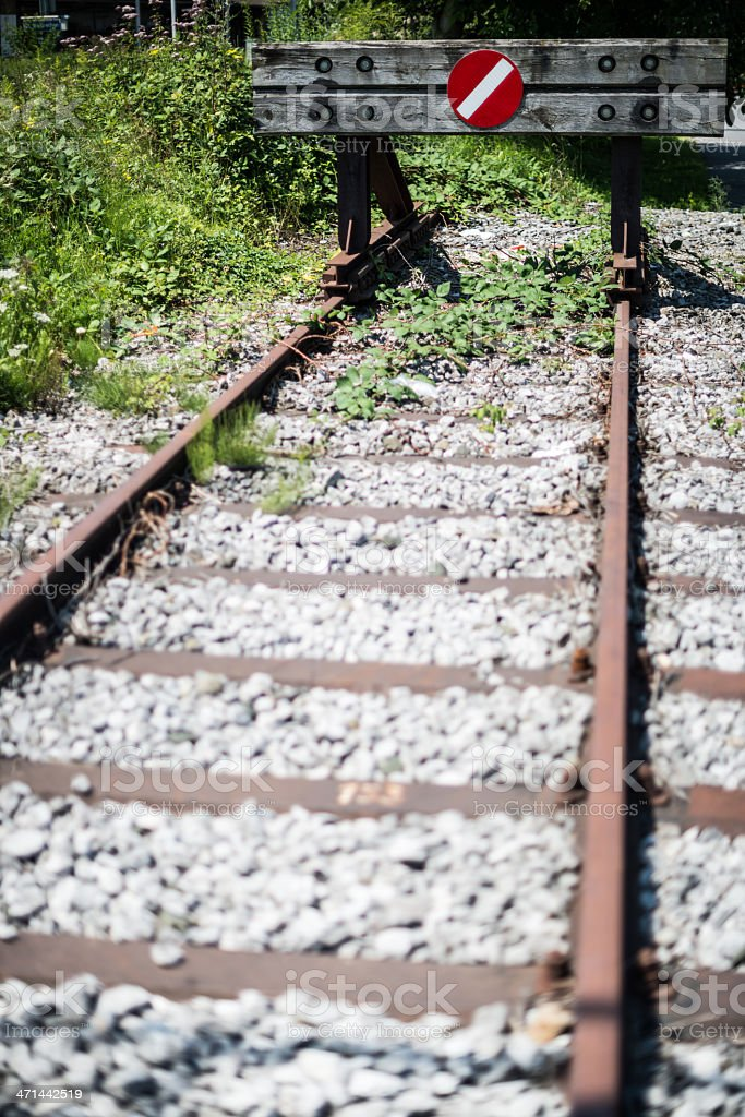 The end of railroad track stock photo
