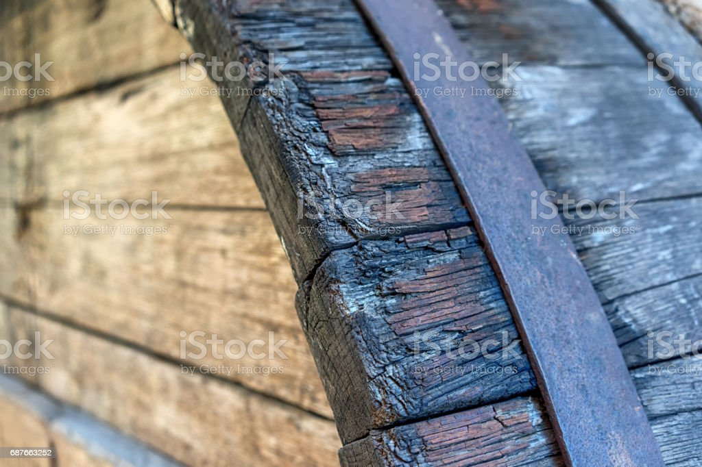 The end of the wooden barrels stock photo