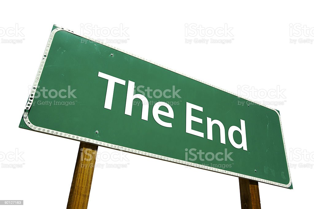 The End road sign isolated on white. royalty-free stock photo