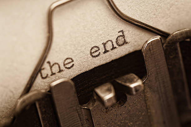 The end, words written on old vintage typewriter - Photo