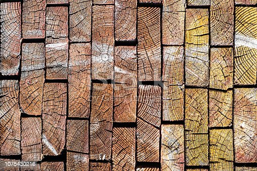 The ends of wooden boards. Background of wood