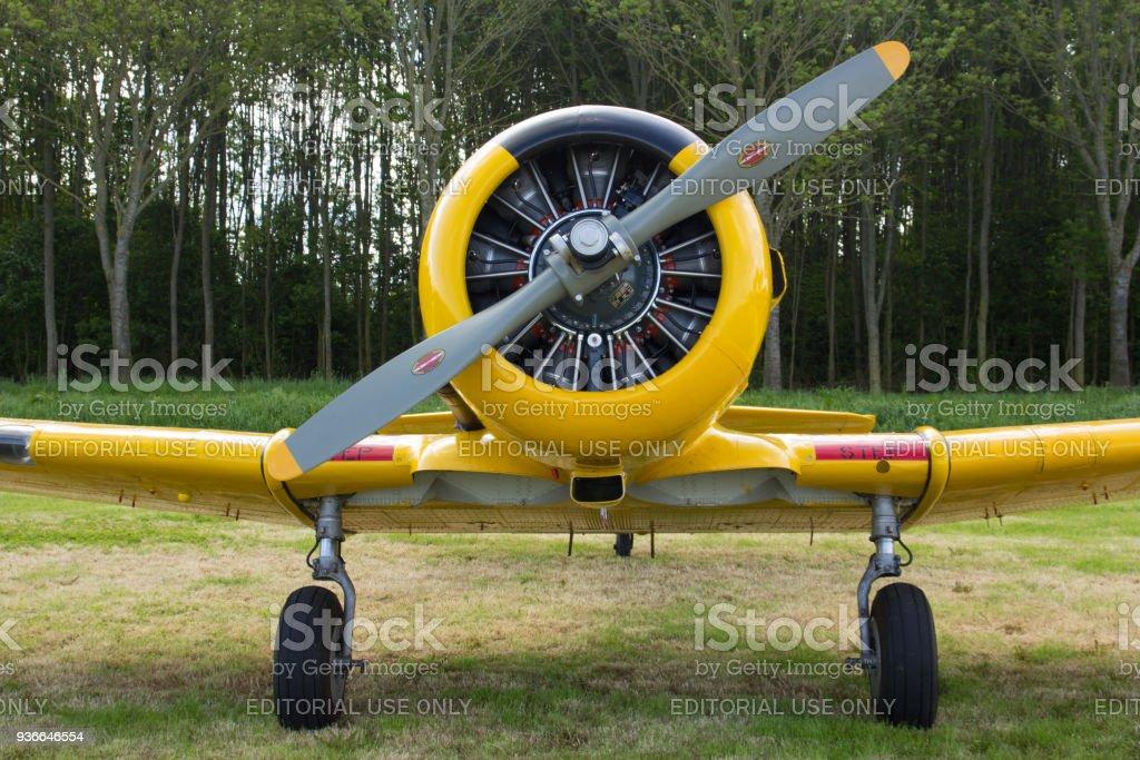 De motor van een historische vliegtuigen van Harvard foto
