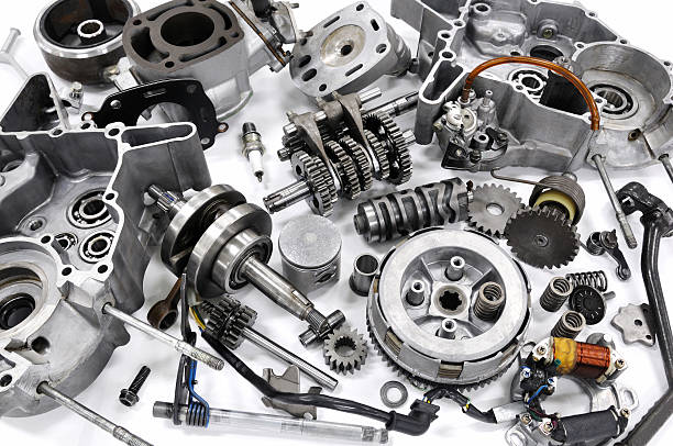 The engine resolution of the motorcycle It is the engine of the motorcycle which was completely dismantled. vehicle part stock pictures, royalty-free photos & images