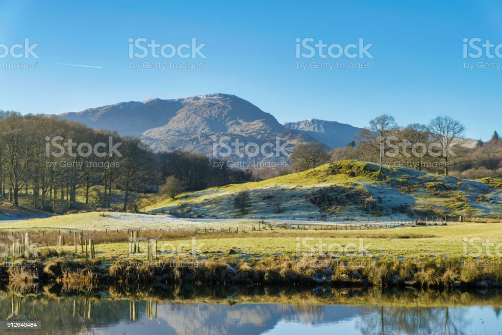 The English Lake District mountain known as Wetherlam, seen from Elterwater stock photo