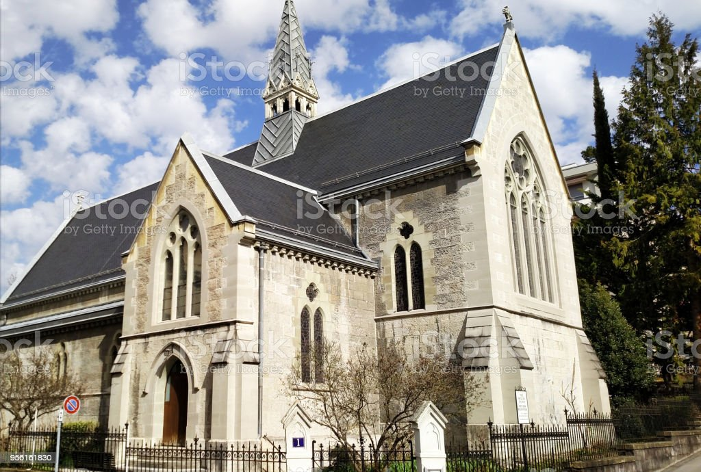 The English or historic Anglican Church in Lausanne Switzerland stock photo